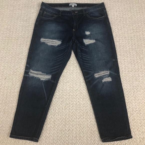 Cello Denim - Cello Jeans   Shredded Slim Dark Wash Boyfriend
